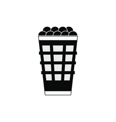 Basket with golf balls icon vector
