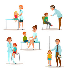 kids visit a doctor icon set vector image