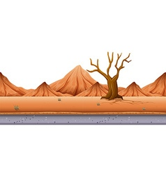 Seamless background with tree and hills vector image