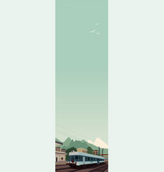 Vertical landscape with train at european village vector