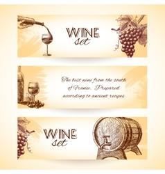 Wine sketch banners vector image vector image