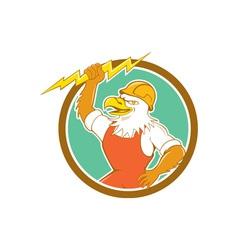 Bald Eagle Electrician Lightning Bolt Circle vector image vector image