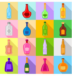 bottles icons set flat style vector image