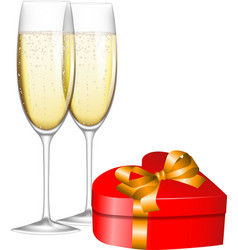 champagne and gift vector image
