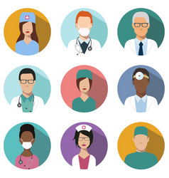 doctors and nurses avatar set medical icons vector image