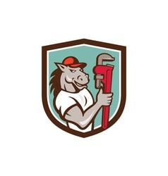 Horse plumber monkey wrench crest cartoon vector