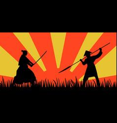 Japanese samurai warriors silhouette with katana vector
