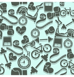 Seamless pattern fitness Gray icons on a blue vector image