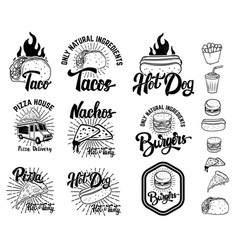set of fast food emblems taco hot dog nachos vector image