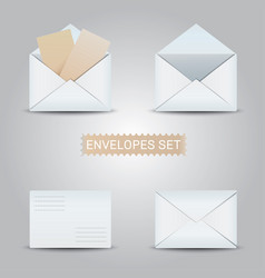 set white envelopes open and closed envelope vector image