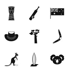 tourism in australia icon set simple style vector image