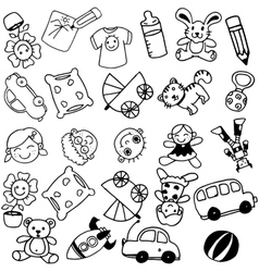 Toy doodle art for kids vector image vector image