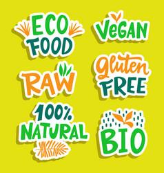 100 percent organic vegan bio eco sign set vector
