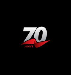 70 years anniversary celebration white black red vector