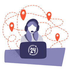 a woman workinr in a call center with logistics vector image