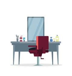 Actor dressing room barbershop flat vector