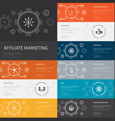 Affiliate marketing infographic 10 line icons vector