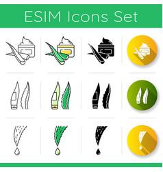Aloe vera icons set aloe vera cosmetics lotion vector