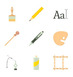 Art school equipment icons set cartoon style vector