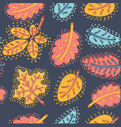 Autumn seamless pattern with falling leaves vector