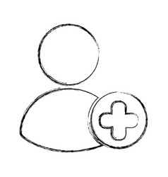 Avatar user with pluss symbol vector