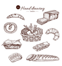 bakery monochrome hand drawn set vector image