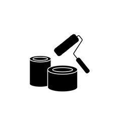 Banks of paint and roller icon black on white vector