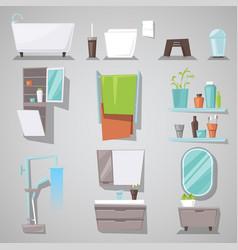 bathroom interior bathtub and shower with vector image
