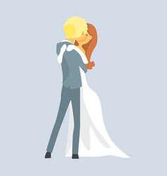 Beatuful bridal couple kissing romantic couple vector