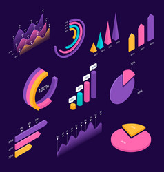 big set infographic isometric elements vector image