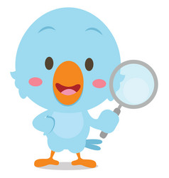 blue bird with magnifying character vector image