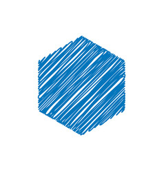blue hexagon sketchy background vector image
