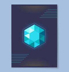 bright blue crystal with shape of six point figure vector image