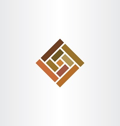 brown wall tile square logo icon vector image
