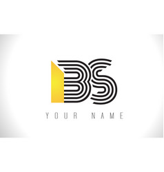 Bs black lines letter logo creative line letters vector