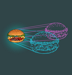 burger ingredients fast food restaurant vector image