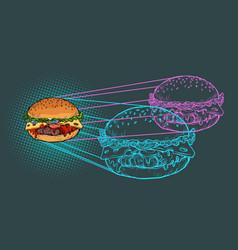 burger ingredients fast food restaurant vector image