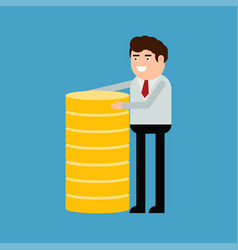 businessman or manager with gold coins vector image