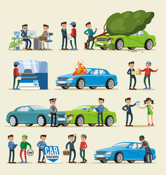 Car insurance characters set vector