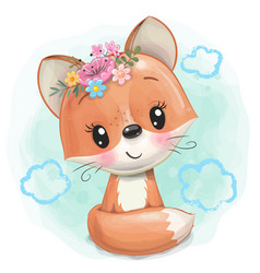 Cartoon fox with flowers on a blue background vector