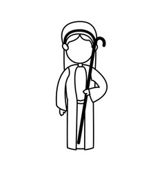 cartoon shepherb manger people with cane wooden vector image