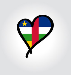 central african republic flag heart-shaped hand vector image