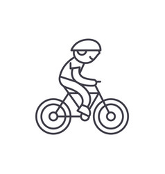 child riding a bike line icon concept child vector image