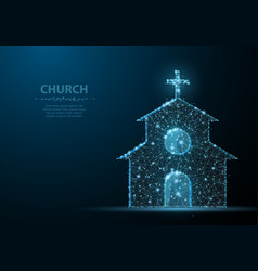 Church building polygonal wireframe mesh on blue vector