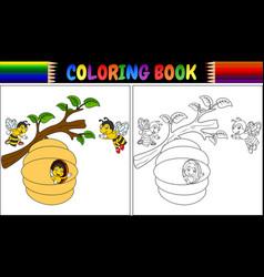 Coloring book cartoon bees vector