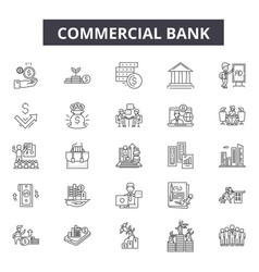 commercial bank line icons for web and mobile vector image