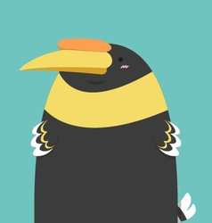 Cute big fat hornbill bird vector