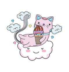 Cute cat with ice cream in cloud vector