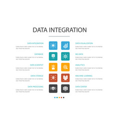 Data integration infographic 10 option concept vector