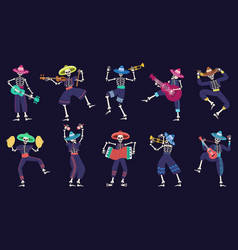 day dead mariachi band musical mexican vector image